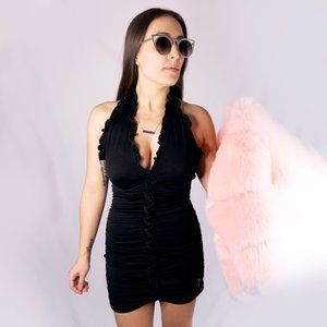 2000s Y2K Baby Phat Ruched Halter Dress